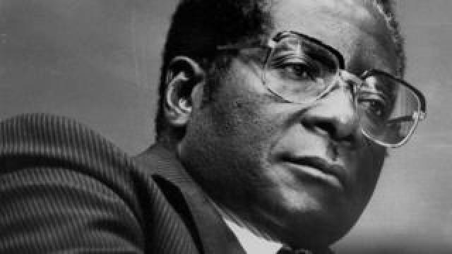 A younger Robert Mugabe is seen in this black and white photo