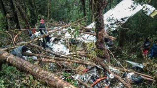 The crash site of a Swiss-made Pilatus aircraft at Menuk mountain in Oksibil.