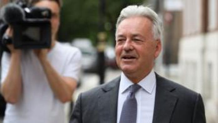 Sir Alan Duncan in London as it was announced he is quitting the government