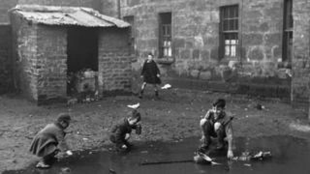 Slum housing in the Gorbals area of Glasgow