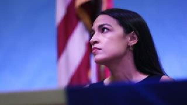 Ocasio-Cortez holds a meeting at the Town Hall in Queens, New York