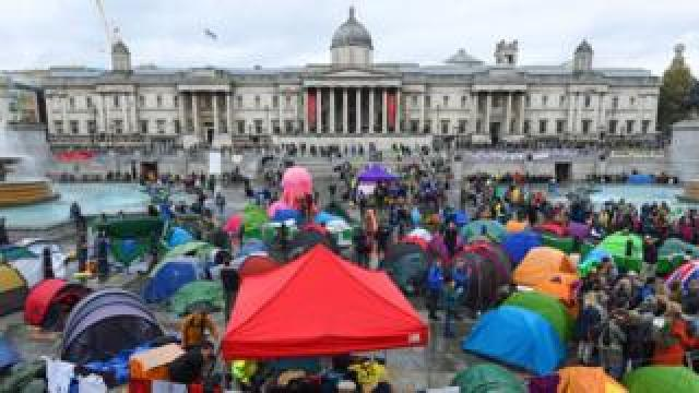 Tents in London's Trafalgar Square during an Extinction Rebellion protest