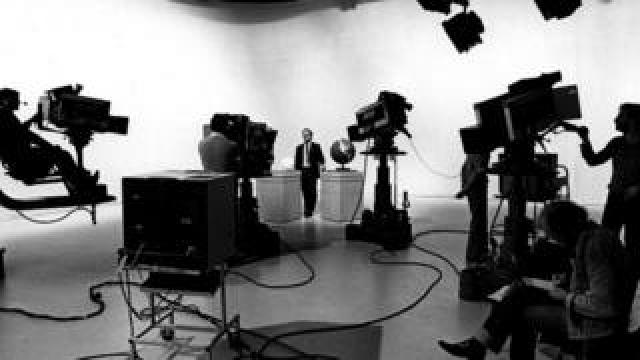 A behind-the-scenes shot of an early joint OU and BBC broadcast.