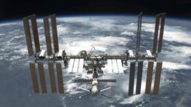 The International Space Station in orbit around the earth