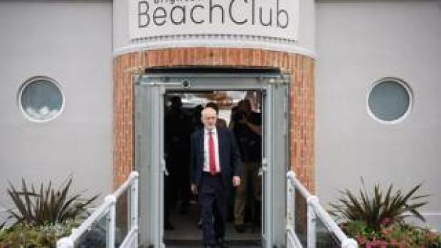 Jeremy Corbyn leaving the Brighton Beach Club