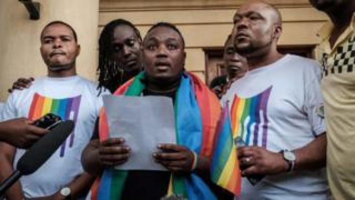 Members and supporters of the LGBTQ community stand and give a statement - Friday 24 May 2019