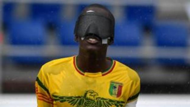 "A Malian blind football gestures during a match of the International Blind Sports Federation""s Blind Football World Championships against Brazil in Madrid on June 08, 2018"