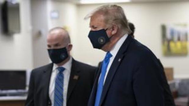 Donald Trump wearing a face mask