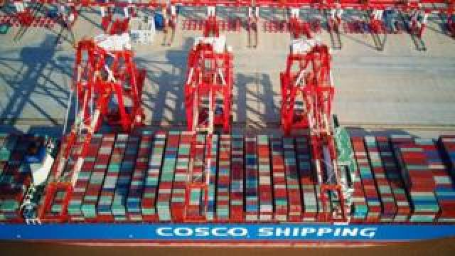 Yangshan deep-water port, an automated cargo wharf, in Shanghai.