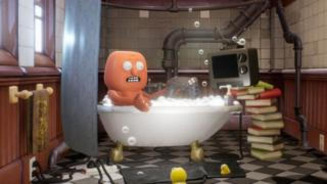 A character from Trover Saves the Universe sits in a bathtub