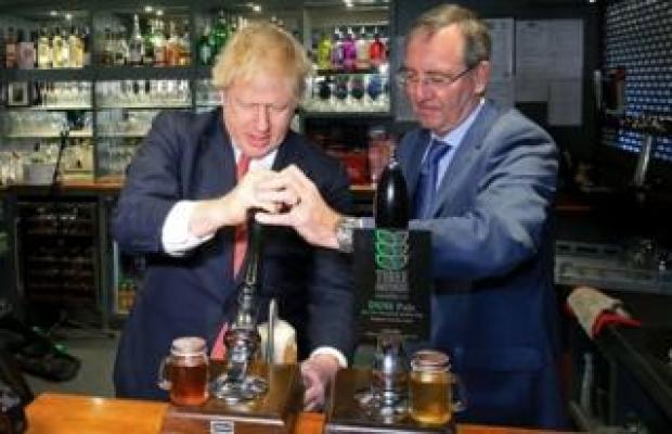 Boris Johnson and Paul Howell at Sedgefield Cricket Club