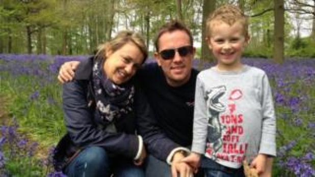 Simon Thomas, centre, with Gemma and Ethan