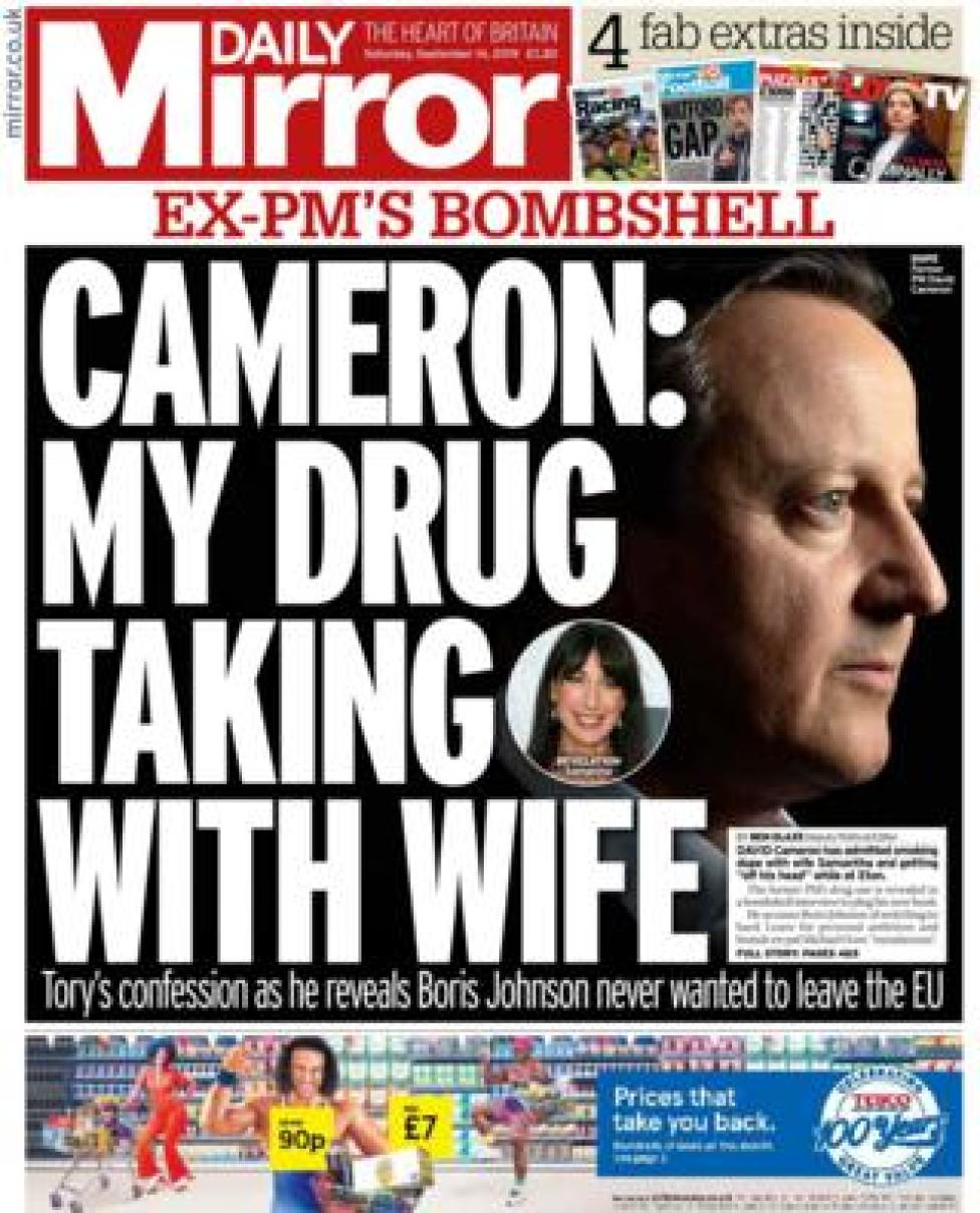 Front page of the Daily Mirror on 14 September 2019