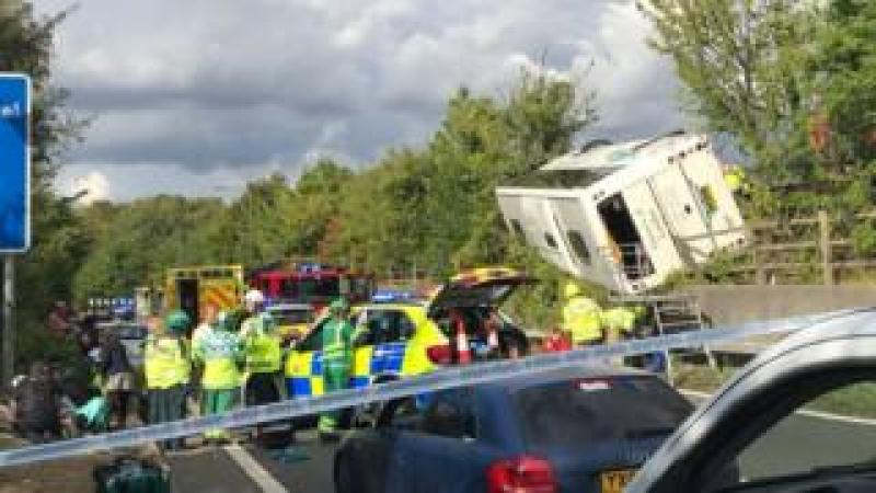 Overturned coach at junction three of the M25 near Swanley