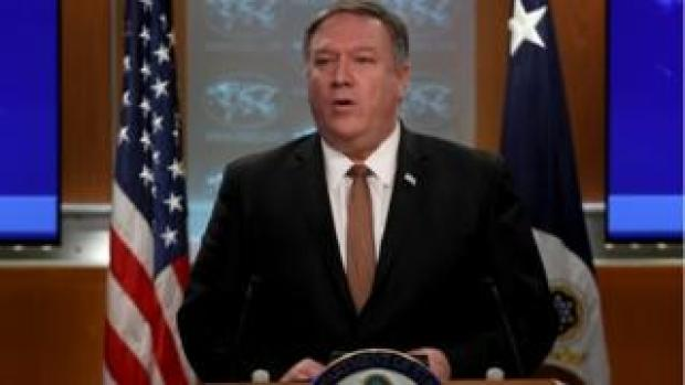 Secretary of State Mike Pompeo answers questions at the US State Department