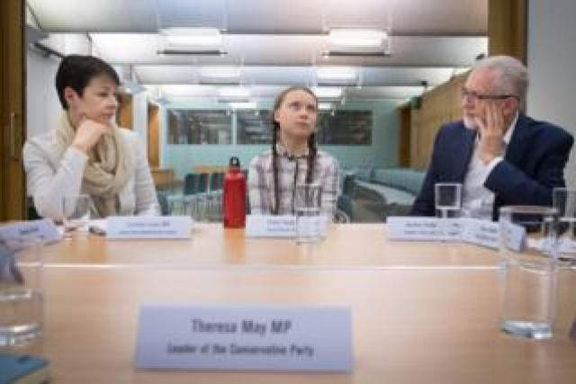 Swedish climate activist Greta Thunberg meets Green Party Westminster leader Caroline Lucas (left) and Labour leader Jeremy Corbyn