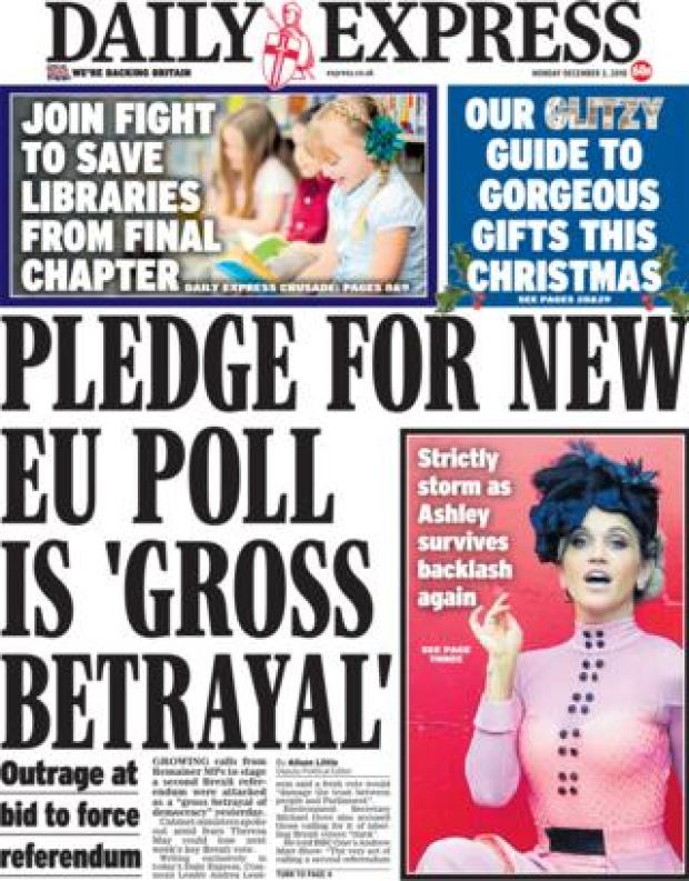 Daily Express front page, 3/12/18