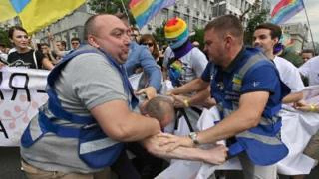 An anti-LGBT campaigner is apprehended