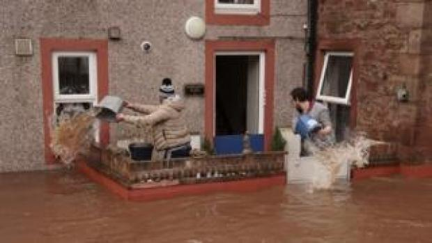 Flooded streets in Appleby-in-Westmorland, Cumbria