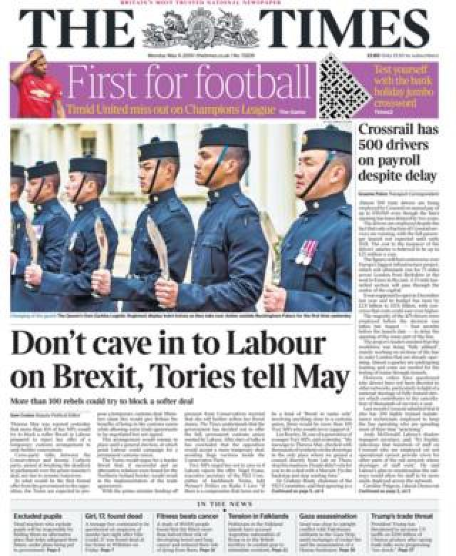 Front page of the Times