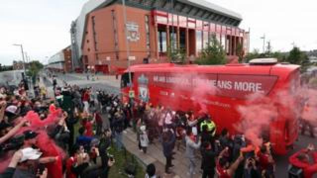 Liverpool team bus arrives at Anfield