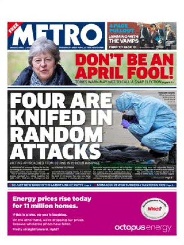 Monday's Metro front page