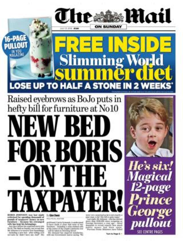 Front page of the Mail