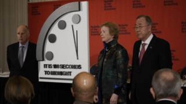 The Bureau of Atomic Scientists unveil the clock