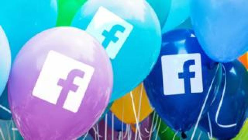 Facebook logo on balloons