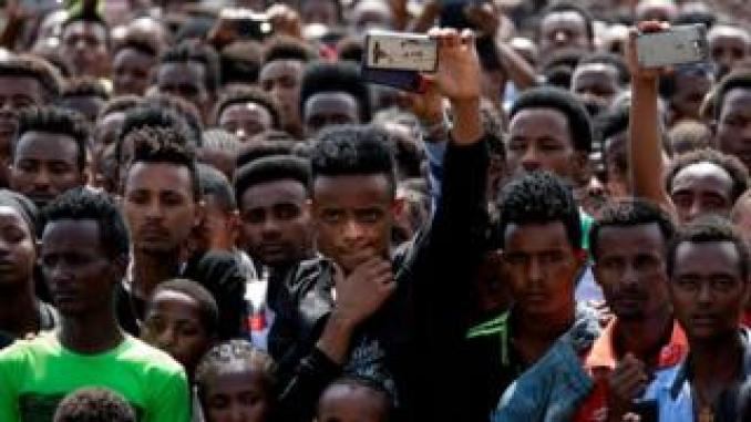 People gather for a rally in Ethiopia