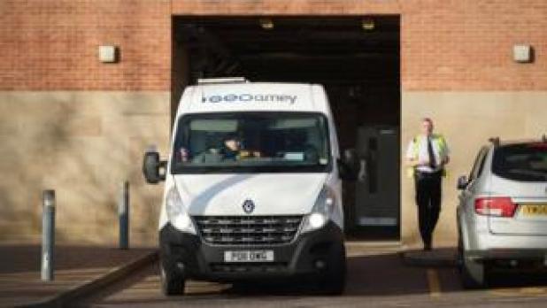 Prison van arriving at court
