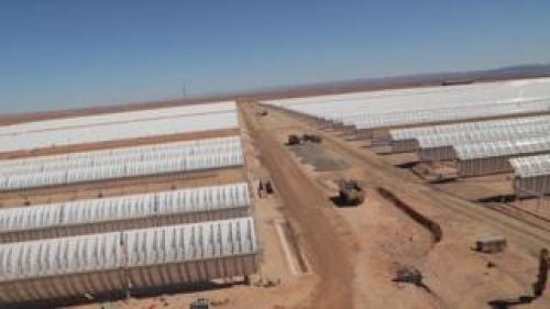 Rows of curved mirrors capture solar energy