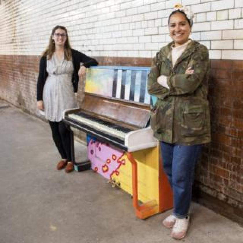 Hannah and Becky with Selhurst piano