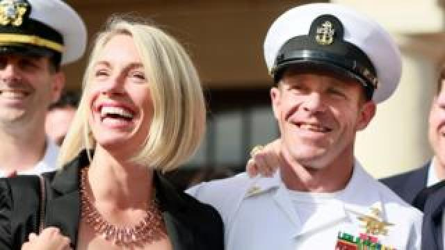 Edward Gallagher celebrates after being acquitted of premeditated murder at Naval Base San Diego July 2, 2019