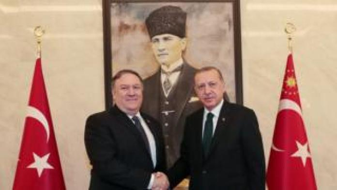 US Secretary of State Mike Pompeo shakes hands with the Turkish President in Ankara