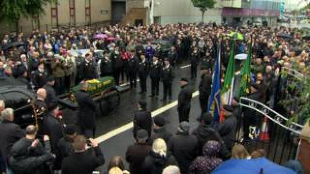 Mourners at the funeral of Billy McKee