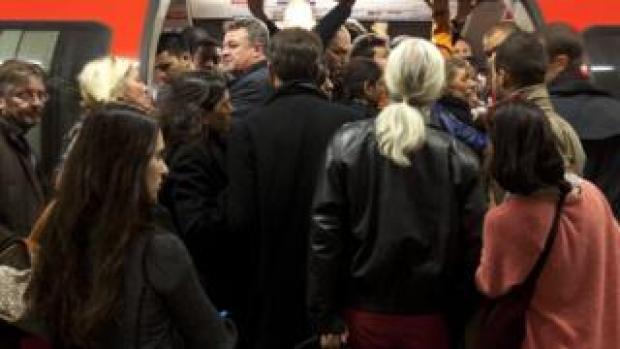 Crowded Tube train