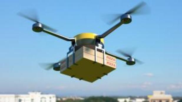 Mock-up drone delivering two pizzas