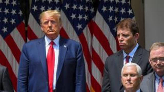 President Trump and Thomas J Philipson, chair of White House council of economic advisers (top right) with (bottom right) Vice-President Mike Pence and economic advisor Kevin Hassett, White House Rose Garden, 5 June 2020