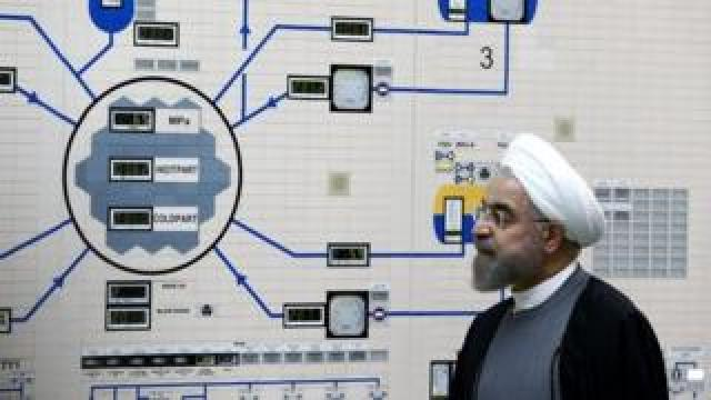 Iranian President Hassan Rouhani at the Bushehr nuclear plant