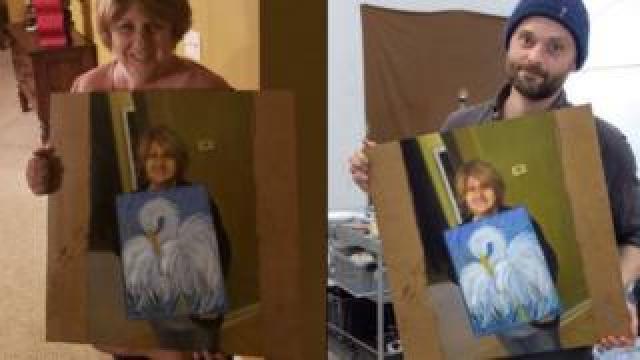 Cindi Decker (left) holds Kristoffer Zetterstran's (right) painting of her holding her bird painting