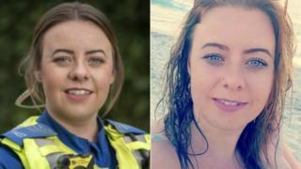 Holly Burke in uniform (left) and on a beach (right)