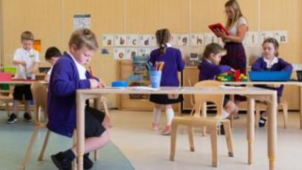 Pupils in class at a primary school