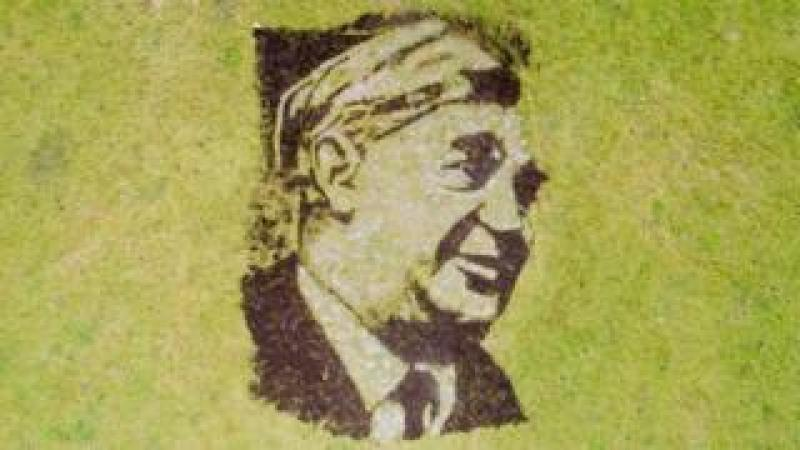Portrait of NHS founder Aneurin Bevan made out of soil and white stone dust by Artist Nathan Wyburne