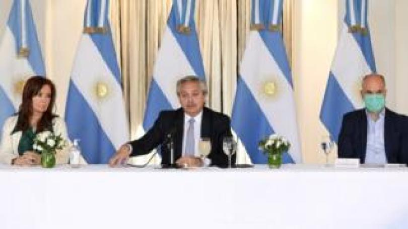 Argentine President Alberto Fernandez speaks at the presentation of the country's renegotiation of the national debt proposal