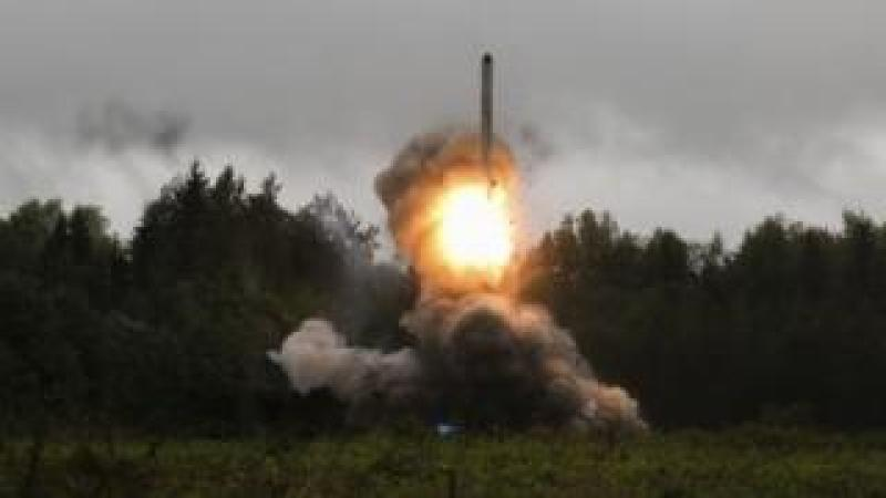 A Russian missile is fired during military exercises