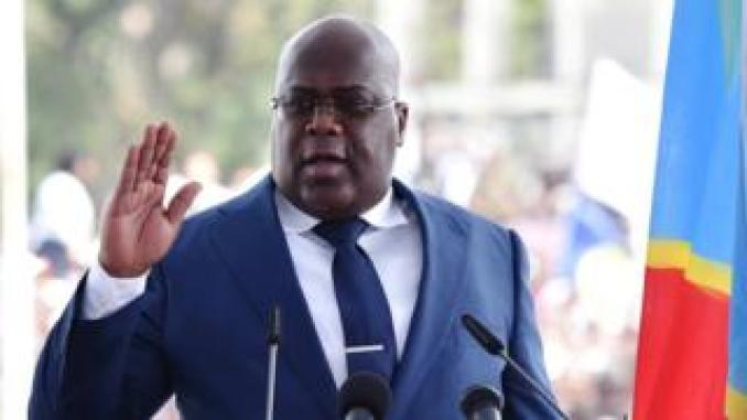 Democratic Republic of Congo's Felix Tshisekedi swears into office during an inauguration ceremony as the new president