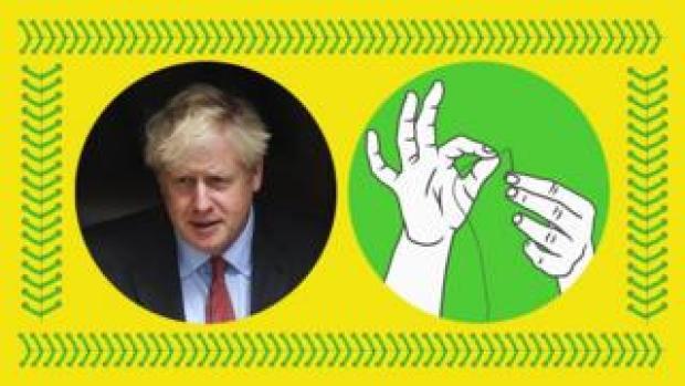 Boris Johnson and a hand stitching illustration