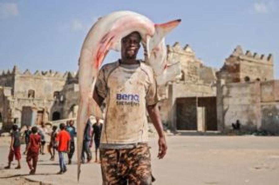 A Somali fisherman whose T-shirt aptly reads
