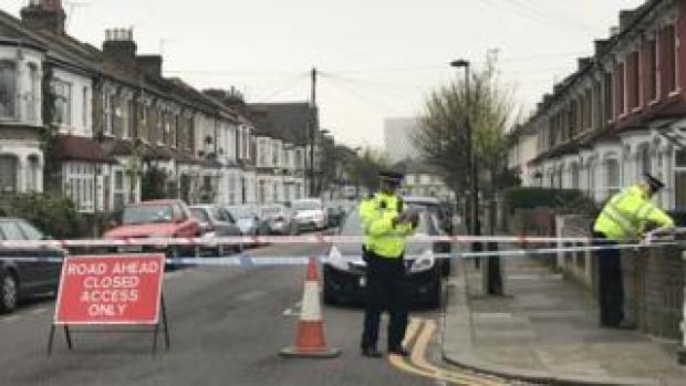 Police at the latest attack scene